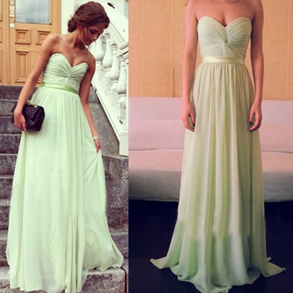 Grass Mint Simple Sweetheart Long Chiffon Bridesmaid Dresses ,women formal gowns