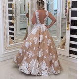 LP5468 Vestido De Festa V Neck Ivory  lace Champagne A Line Prom Dress Long Party Gown 2018