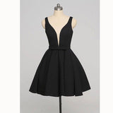 Simple Black V Neck Short Prom Homecoming Dresses Cocktail Semi formal Gown