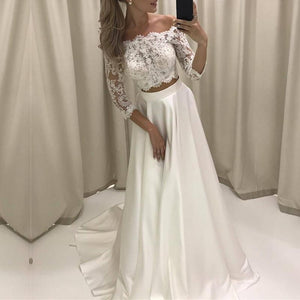 Siaoryne WD0823 3/4 Sleeves Two 2 Pieces Beach wedding Dress A line Lace Bridal Gowns