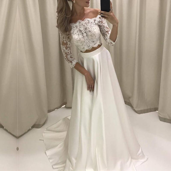 Siaoryne Wd0823 34 Sleeves Two 2 Pieces Beach Wedding Dress A Line La