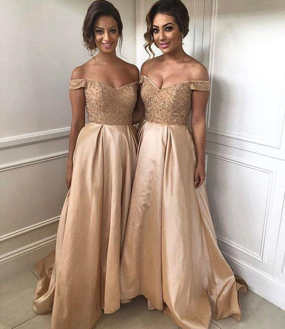 Siaoryne LP033 Sequins Off the Shoulder Long Chiffon Prom Dress Party Gowns