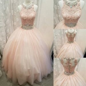 8f3352fc947 Blush Pink Crop Top Ball Gown Prom Dress Two Pieces Quinceanera Dress  Debutante Gown 2018