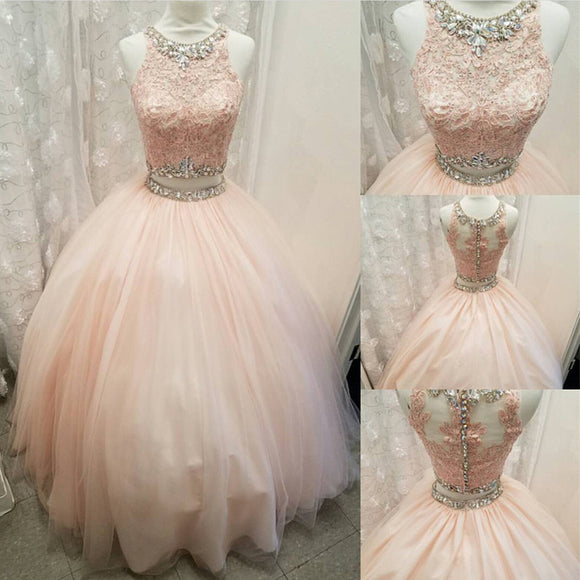 Blush Pink Crop Top Ball Gown Prom Dress  Two Pieces Quinceanera Dress Debutante Gown 2019
