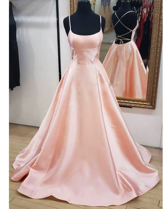 Elegant Satin Women Blush Pink Prom Dress Long Party Evening Dress with Straps Formal Outfits PL06232