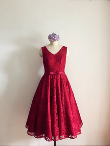 Chic Burgundy Homecoming Dress Lace Short Junior Prom Dress 8th Grade Graduation Girls Party Gown SP182