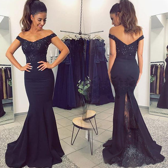 Elegant Off the Shoulder Mermaid Women formal evening dresses Adult Bridesmaid Gown