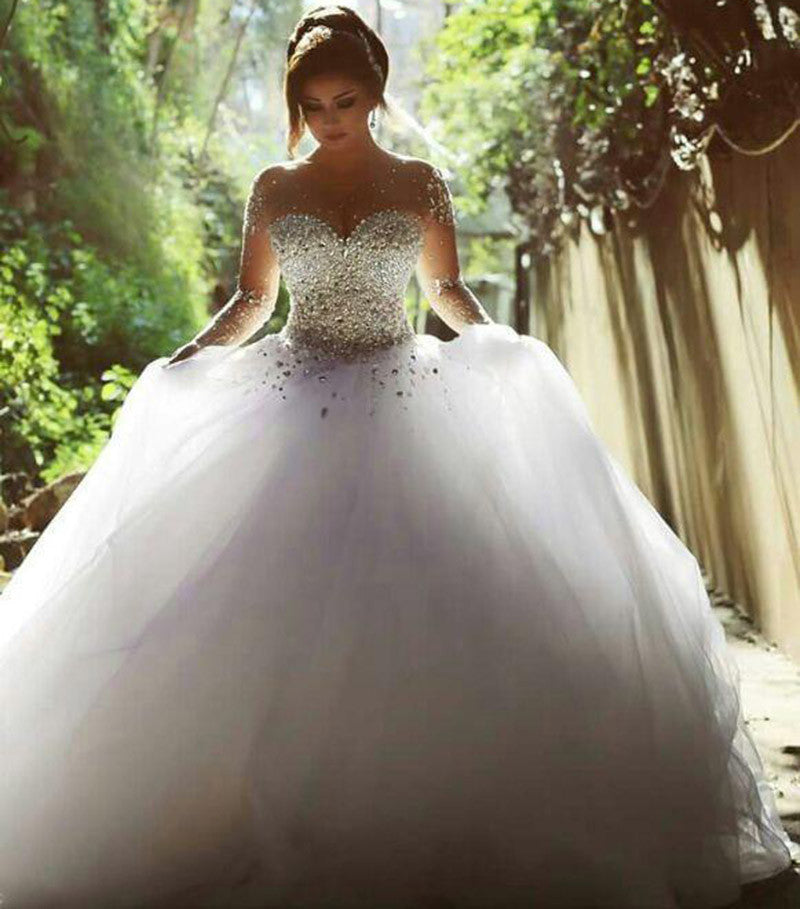Pictures Of Ball Gown Wedding Dresses: Romantic Bridal Gown Long Sleeves Illusion Crystal Pearl