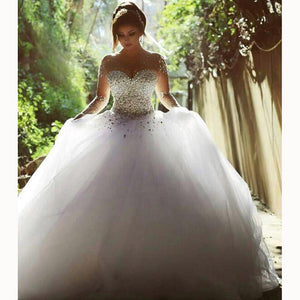 Romantic Bridal Gown Long Sleeves Illusion Crystal Pearl Ball Gowns Wedding Dresses Princess Bridal Gown WD3664