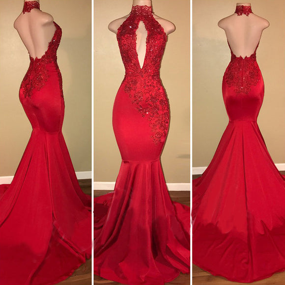 Halter High Neck Red Lace Women  Evening Prom Dresses Long LP321