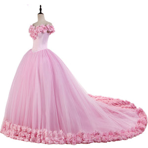 Siaoryne LP1008 Ball Gown Quinceanera Dresses Pink Flowers Debutante Gown Sweet 16 Dresses