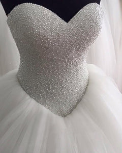 Romantic Pearl Wedding Dress Ball Gown Heavy Beaded WD5141
