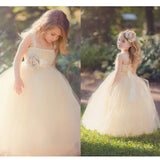 Champagne Ball Gown Little Flower Girl Dress Children Communion Dresses with Straps