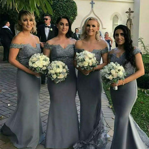 Elegant Off the Shoulder Grey Bridesmaid Dresses Long Mermaid Wedding Guests Formal Gown for Women