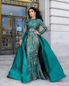 Luxury Mermaid Green Sequins Arabic Evening Dresses women Formal Gowns with Detachable Train PL2258