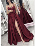 Elegant A Line Satin Long Spaghetti Straps Prom Dress Formal Evening Gowns Burgundy/Green high Slit PL97745