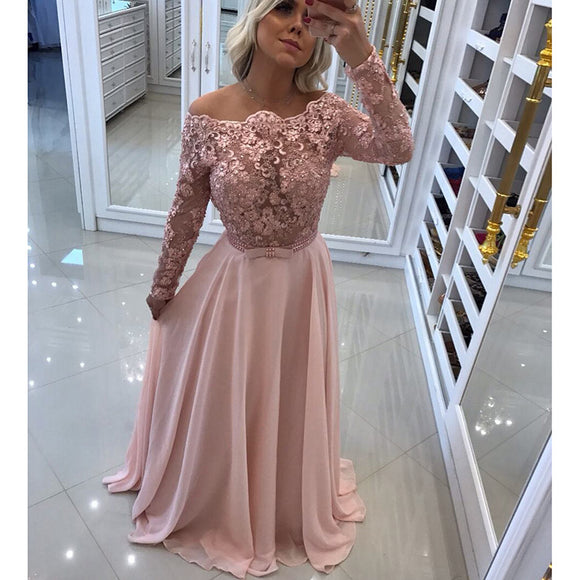 Fancy Pink Off the Shoulder Lace Chiffon Long Sleeves Prom Dresses ...