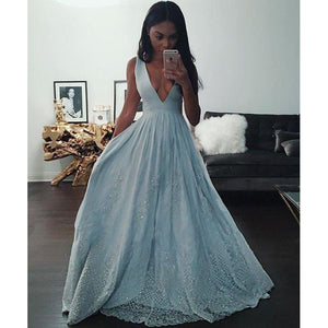Sexy A Line Blue Deep V Neck Lace Sequins Prom Dresses Long Women Formal Gown