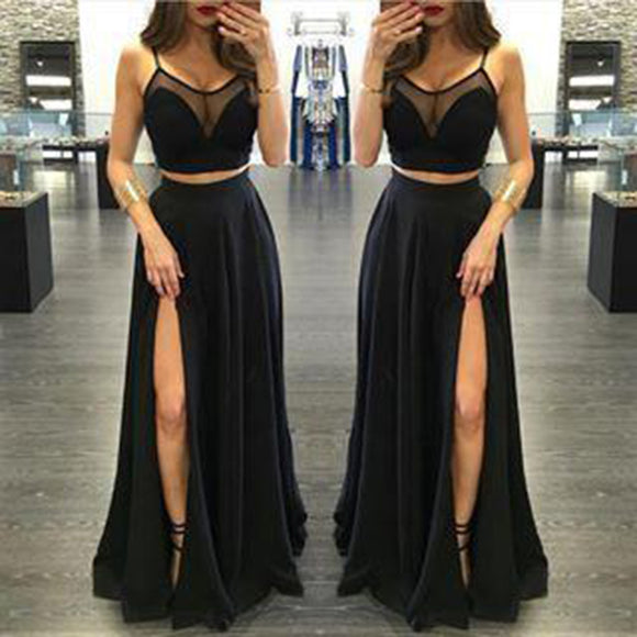Sexy Black Prom Dress Crop Top Spaghetti Straps Long Party Girls evening Dress with Slit