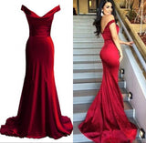 SIaoryne LP025 Burgundy Long Mermaid Prom Dresses Long Party Gowns off the Shoulder