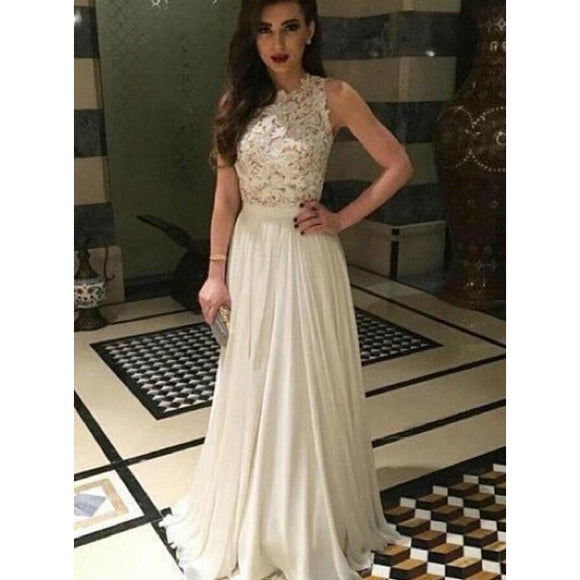 Ivory Prom Dress Boat Neck Long Chiffon Lace Women Evening dresses