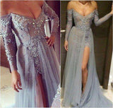 Grey Off the Shoulder Lace Beaded Prom Dresses with Long Sleeves Formal Dubai Evening Gown 2020