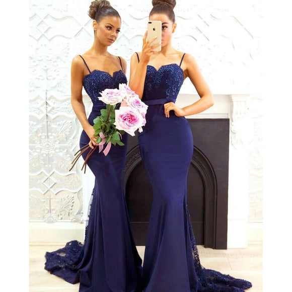 Spaghetti Srtaps Fitted Long Dress Bridesmaid Gown with Lace Appliques ,maid of honor dress for women