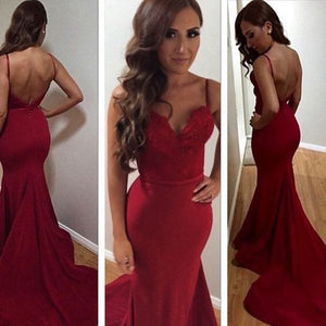 Siaoryne Spaghetti Straps Mermaid Stain Prom Dresses Burgundy Dark red Evening Dress Long