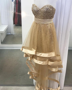 Gold Sweetheart Sequins High Low Party Prom Dress for Girls PL55870