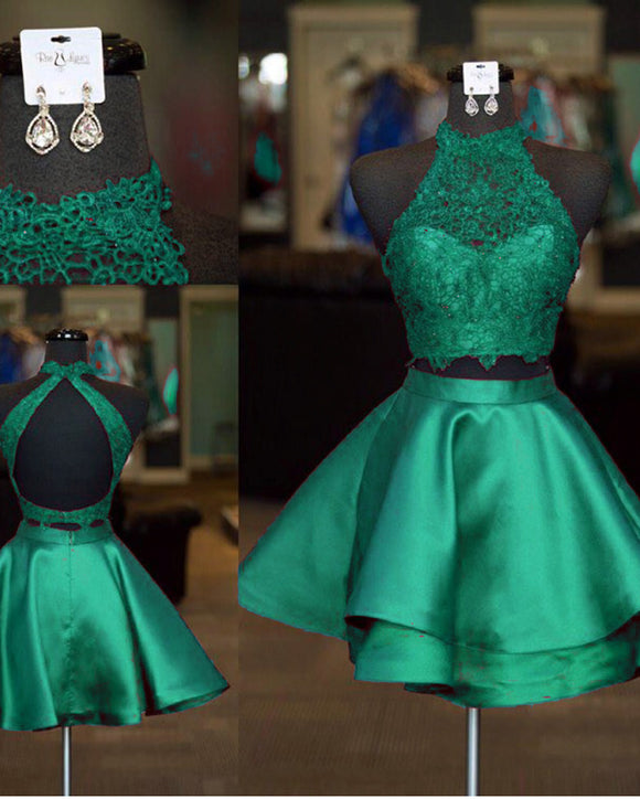 Halter Two Pieces Short Homecoming Dress Lace A Line Satin Cocktail Poofy Skirt Girls Short Prom Gown