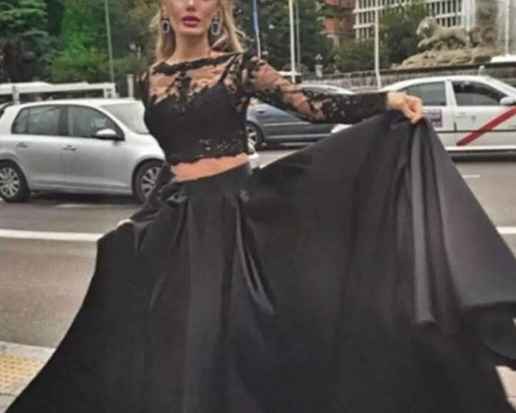 2addc763796c35 ... Girls Crop Top Long Senior Graduation Prom Gown Black Homecoming Dress  with Long Sleeve ...