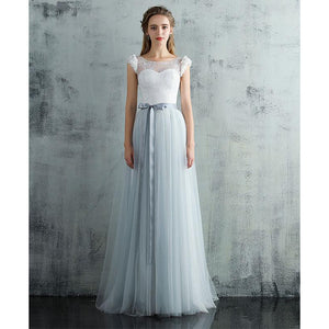 Elegant White/Blue Cap Sleeves Boho Wedding Dress Beach Bridal Dress  with Belt