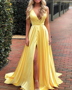 Bright Yellow Sexy Slit Long Girls Graduation Prom Dresses 2019 PL6956
