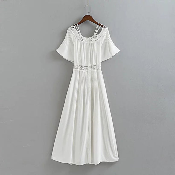 Long Sundress off the shoulder summer cotton lace casual dresses