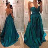 Strapless Prom Dress A Line Sweetheart Taffeta Formal Evening Long Party Dresses
