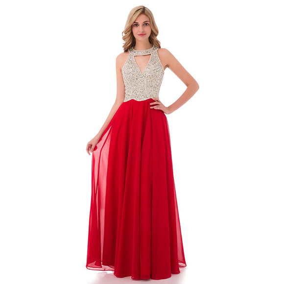 Fashion New  Halter Beading Long Red Graduation Prom Dress Girls Formal Gown LP0594