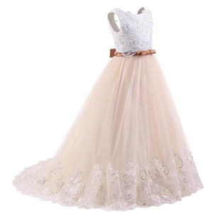 Cute Floor Length Sequins Lace Flower Girl Dresses white and pink communion dresses with Belt