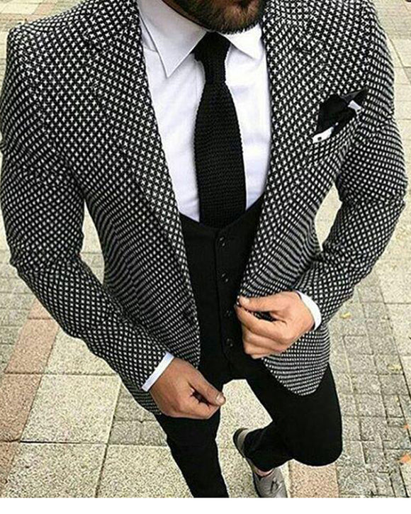 Hounds Tooth Men Suit Wedding Groom Suit Two Pieces(Jacket + Pants)
