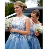 White and Blue Bridesmaid Dresses Women Short Wedding Party Gown Girls Maid of honor dress