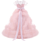 Blue/Pink Short Sleeves Ball Gown Flower Girl Dresses Floor Length Children Pageant Gown