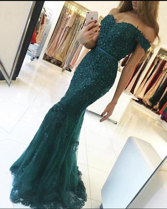 Teal Lace Mermaid Formal Prom Dress for Wedding  Long Special Event Gown PL7458