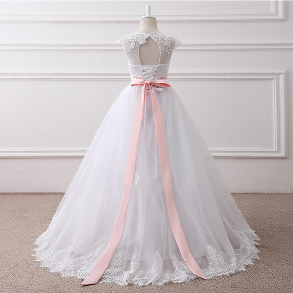 Cap Sleeves Lace Ball Gown Flower Girl Dress Baby White Dress with Pink Belt Children First Communion Dress