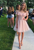 Blush Pink Off the Shoulder Short Party Dress, Cocktail Lace Short Homecoming Dress SP0274