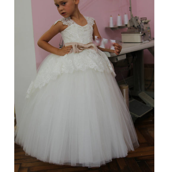 Cap Sleeves Lace Tulle Flower Girl Dress First Communion Dress for Baby Girls