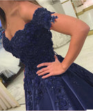 Wine Red /Navy Prom Dresses with Lace Appliqued off the Shoulder 2019