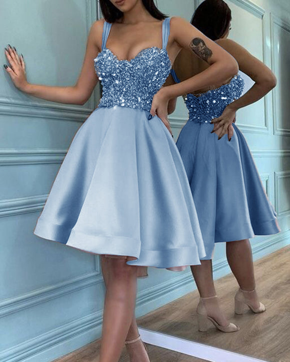 Pink / Blue Knee Length Short Prom Dress with Straps Sequins Beading ,Girls 8th Grade Party Homecoming Gown SP01113
