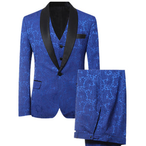 Blue Men Suits Custom Made Slim Fit  Wedding Suits For Groom Prince Of Wales Windowpane Suit 3 pieces