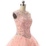 Best Rose Gold Prom Dress Lace Ball Gown Quinceaneras for Girls Sweet Sixteen Dresses