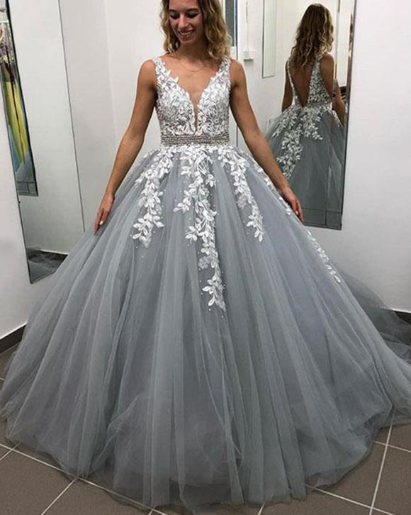 V Neck Gray/Pink Tulle and White Lace Prom Dress with Beading Belt PL6854