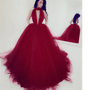Burgundy Halter Ball Gown Women Evening Party Dress Sexy Backless Puffy Special Occasion Dress